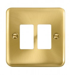 Click Deco Plus GridPro Satin Brass 2 Gang Front Plate