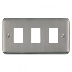 Click Deco Plus GridPro Stainless Steel 3 Gang Front Plate