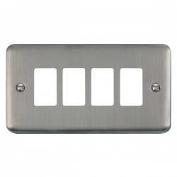 Click Deco Plus GridPro Stainless Steel 4 Gang Front Plate