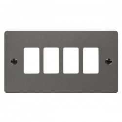 Click Define GridPro Black Nickel 4 Gang Front Plate