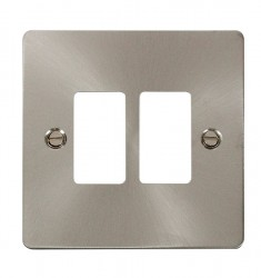 Click Define GridPro Brushed Stainless 2 Gang Front Plate