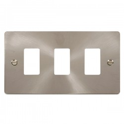 Click Define GridPro Brushed Stainless 3 Gang Front Plate