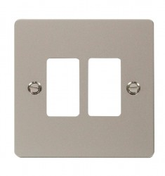 Click Define GridPro Pearl Nickel 2 Gang Front Plate