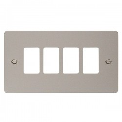 Click Define GridPro Pearl Nickel 4 Gang Front Plate