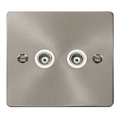 Click Define Brushed Steel Flat Plate Single Gang Double Television Outlet with White Insert