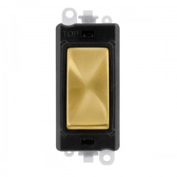 Click GridPro Satin Brass 20AX 1 Way Switch Module with Black Insert