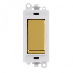 Click GridPro Polished Brass 20AX 1 Way Switch Module with White Insert