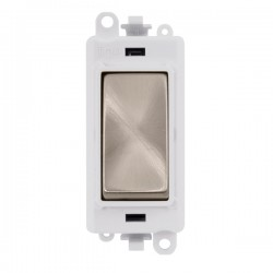 Click GridPro Brushed Stainless 20AX 1 Way Switch Module with White Insert