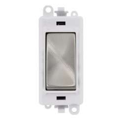 Click GridPro Satin Chrome 20AX 1 Way Switch Module with White Insert
