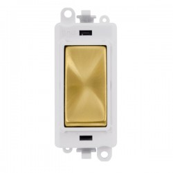 Click GridPro Satin Brass 20AX 2 Way Switch Module with White Insert