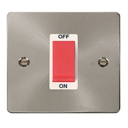 Click Define Brushed Steel Flat Plate Single Cooker Switch with White Insert