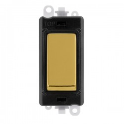 Click GridPro Polished Brass 20AX DP Switch Module with Black Insert