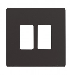 Click Definity GridPro Black 2 Gang Front Plate