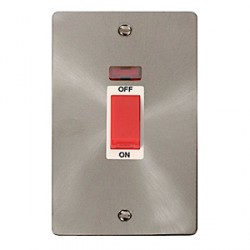 Click Define Brushed Steel Flat Plate Vertical Plate Cooker Switch with White Insert and Neon