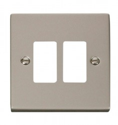 Click Deco GridPro Pearl Nickel 2 Gang Front Plate