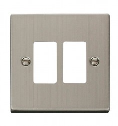 Click Deco GridPro Stainless Steel 2 Gang Front Plate
