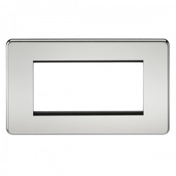 Knightsbridge Screwless Polished Chrome 4 Gang Modular Faceplate