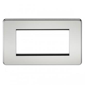 Knightsbridge Screwless Polished Chrome 4 Gang Modular Faceplate