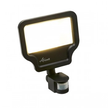 Ansell Calinor 50W 3000K Black LED Floodlight with PIR