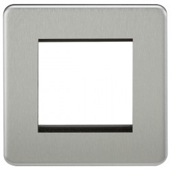 Knightsbridge Screwless Brushed Chrome 2 Gang Modular Faceplate