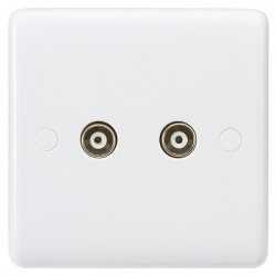 Knightsbridge Curved Edge Twin Non-Isolated TV Coaxial Outlet