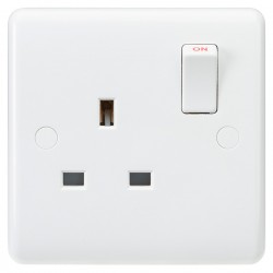 Knightsbridge Curved Edge 13A 1 Gang DP Switched Socket