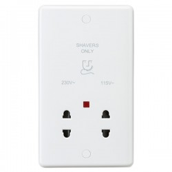 Knightsbridge Curved Edge Dual Voltage Shaver Socket with Neon