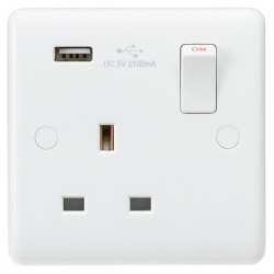 Knightsbridge Curved Edge 13A 1 Gang Switched Socket with USB Charger (2.1A)