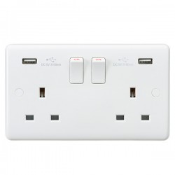 Knightsbridge Curved Edge 13A 2 Gang Switched Socket with Dual USB Charger (3.1A Shared)