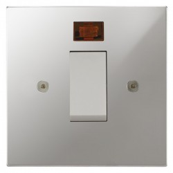 Focus SB Horizon Square NHPC33.1W/SML 45 amp Cooker Control Switch with Neon in Polished Chrome