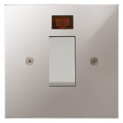 Focus SB Horizon Square NHPS33.1W/SML 45 amp Cooker Control Switch with Neon in Polished Stainless