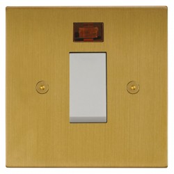 Focus SB Horizon Square NHSB33.1W/SML 45 amp Cooker Control Switch with Neon in Satin Brass