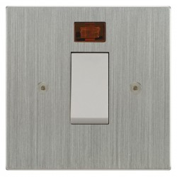 Focus SB Horizon Square NHSC33.1W/SML 45 amp Cooker Control Switch with Neon in Satin Chrome