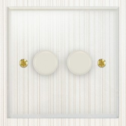 Focus SB Prism P22.2W 2 Gang 2 Way 400W (Mains and Low Voltage) Dimmer in Clear Acrylic