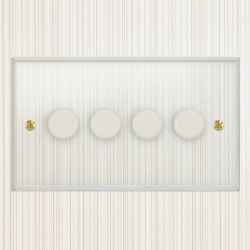 Focus SB Prism P21.4W 4 Gang 2 Way 250W (Mains and Low Voltage) Dimmer in Clear Acrylic