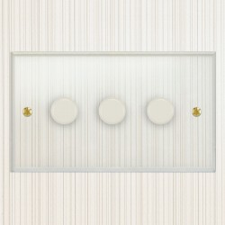 Focus SB Prism P21.3W 3 Gang 2 Way 250W (Mains and Low Voltage) Dimmer in Clear Acrylic