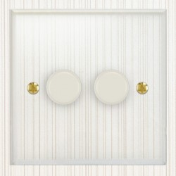 Focus SB Prism P21.2W 2 Gang 2 Way 250W (Mains and Low Voltage) Dimmer in Clear Acrylic