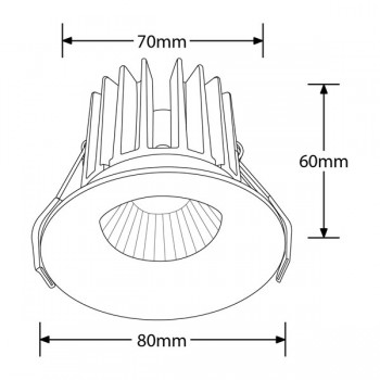 Aurora Lighting CurveE 10W Warm White Dimmable Fixed LED Downlight - 10mm Baffle Recess
