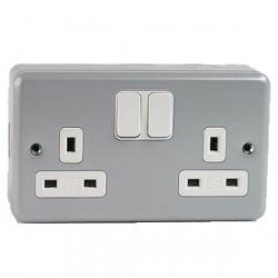 MK Electric Metalclad Plus™ 13A 2 Gang Double Pole Switched Socket