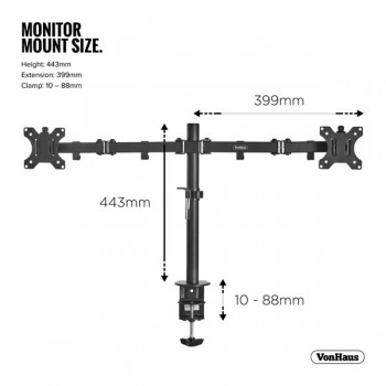 VonHaus Double Arm Desk Mount for 13-32in Monitors
