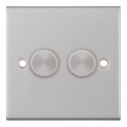 Selectric 5M Satin Chrome 2 Gang 400W 2 Way Dimmer Switch