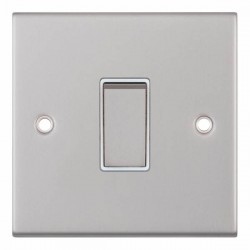 Selectric 5M Satin Chrome 1 Gang 10A 2 Way Switch with White Insert