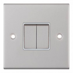 Selectric 5M Satin Chrome 2 Gang 10A 2 Way Switch with White Insert