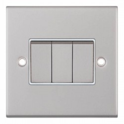Selectric 5M Satin Chrome 3 Gang 10A 2 Way Switch with White Insert