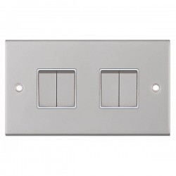 Selectric 5M Satin Chrome 4 Gang 10A 2 Way Switch with White Insert