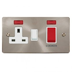 Click Define Brushed Steel Flat Plate Cooker Switch and Single Socket with White Insert and Neon