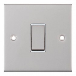 Selectric 5M Satin Chrome 1 Gang 10A Intermediate Switch with White Insert