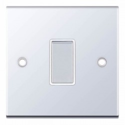 Selectric 5M Polished Chrome 1 Gang 10A 2 Way Switch with White Insert