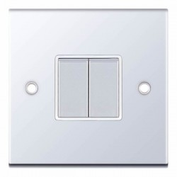 Selectric 5M Polished Chrome 2 Gang 10A 2 Way Switch with White Insert