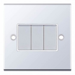 Selectric 5M Polished Chrome 3 Gang 10A 2 Way Switch with White Insert
